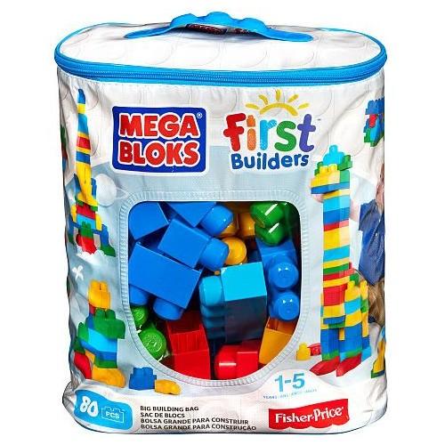 Mega Bloks First Builders Big Building Bag of 80 Blue