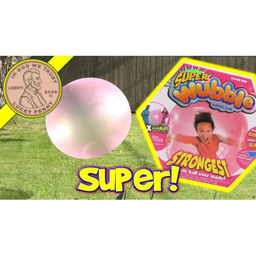 Super Wubble Ball W/Pump Pink for Children, Pink ,80890