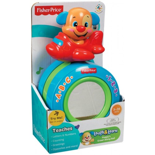Fisher-Price Laugh & Learn Puppy's Crawl-Along Musical Ball Music Toy [Blue and Red, Y4257]