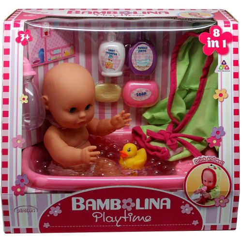 Bambolina 33 cm bathBaby Doll With Bathtub & Bath Accessories BD1405