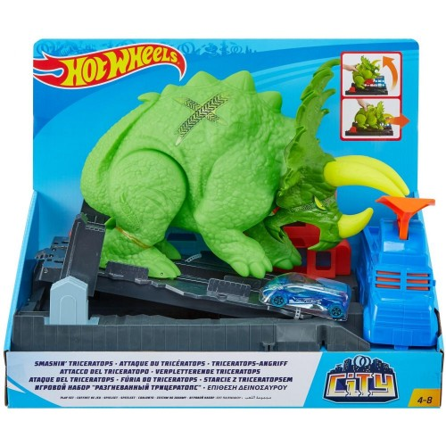 Hot Wheels Smashin Triceratops Play Set (GBF97)
