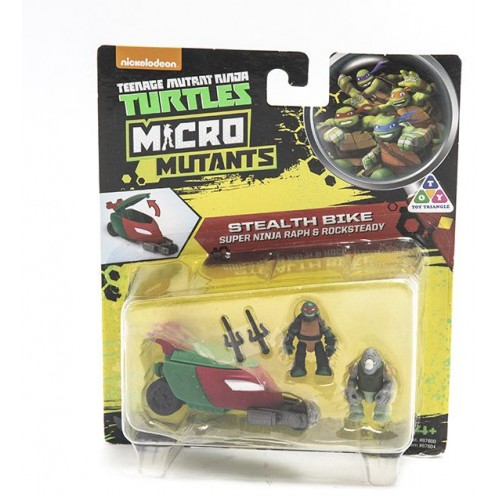 Ninja Turtles , Micro Mutanta , Stealth Bike Super Ninja Raph and Rocksteady , for Boys